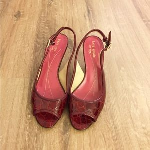 Kate Spade slingback red patent leather heels
